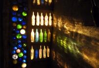 Bottle wall meets setting sun